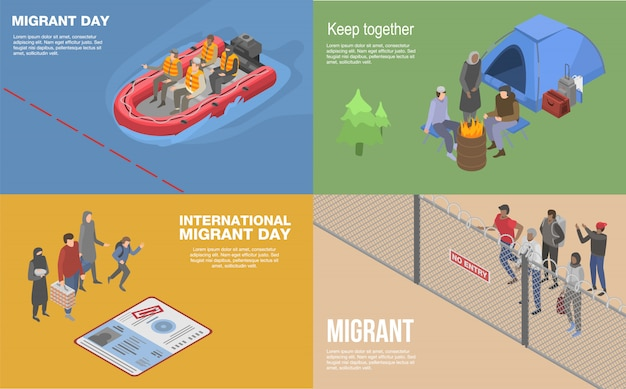 Conjunto de faixa de refugiados migrantes. conjunto isométrico de bandeira de vetor de refugiados migrantes para web design