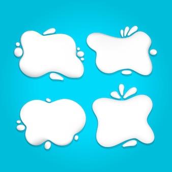 Conjunto de faixa de respingo de leite líquido ou creme