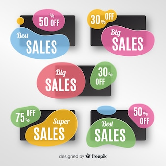 Conjunto de faixa de vendas de forma líquida abstrata