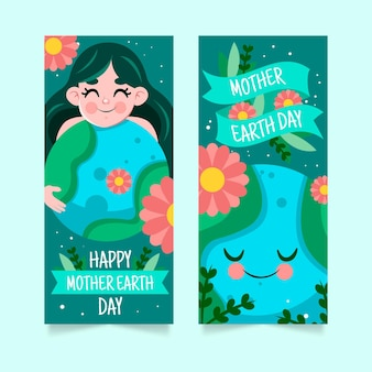 Conjunto de faixa desenhada à mão para o dia da mãe terra