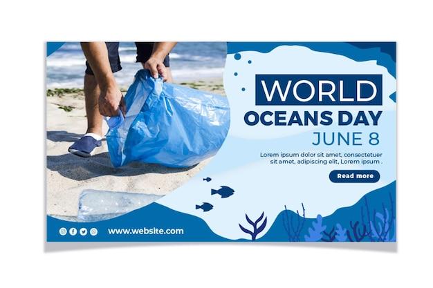 Conjunto de faixa do dia dos oceanos do mundo plano