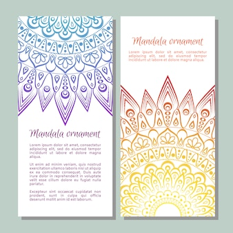 Conjunto de faixa étnica ornamentais coloridas.