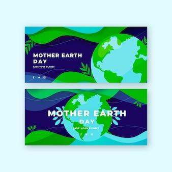 Conjunto de faixa plana do dia da mãe terra