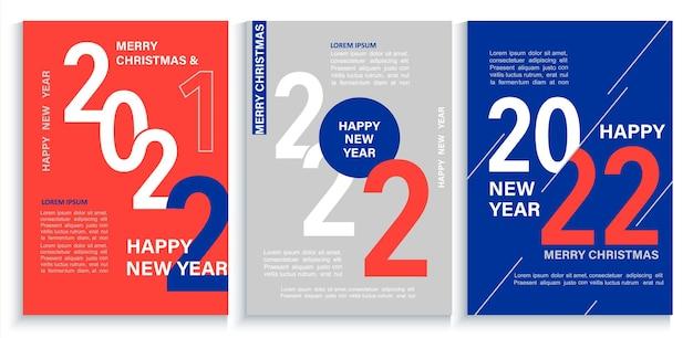 Conjunto de faixas brilhantes de ano novo de 2022, folhetos nas cores vermelho, azul e branco. brochuras, convites e cartões de felicitações modernos, folhetos, cabeçalhos, diários de negócios, capa de calendário com números para 22 anos.