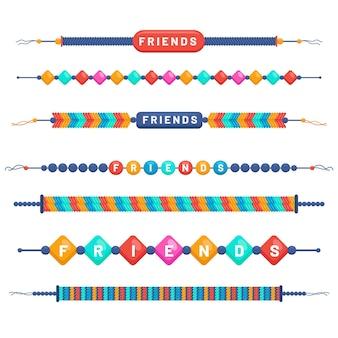 Conjunto de faixas coloridas de amizade