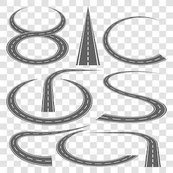 Conjunto de faixas da estrada curvada