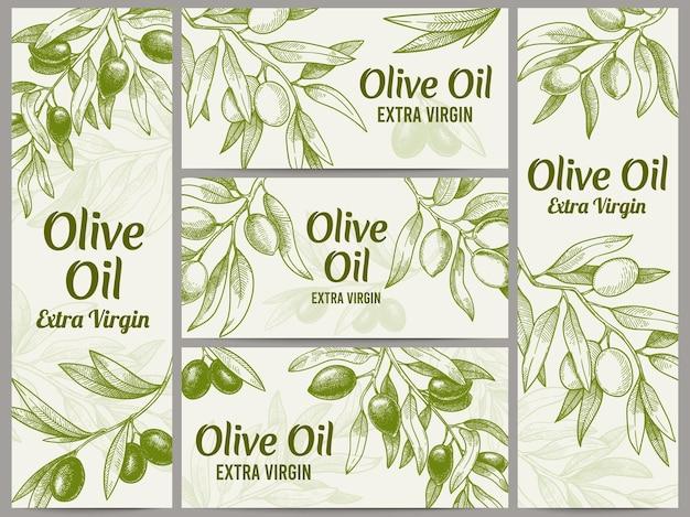 Conjunto de faixas de azeite de oliva