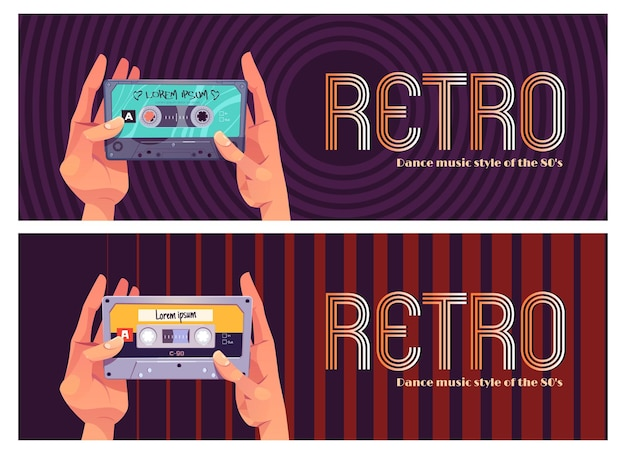 Conjunto de faixas de música de dança retrô Vetor grátis