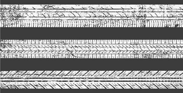 Conjunto de faixas de pneus sujos