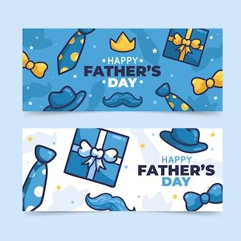 Conjunto de faixas desenhadas à mão para o dia dos pais
