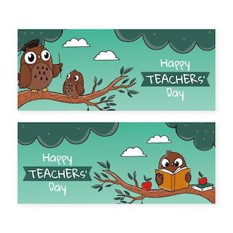 Conjunto de faixas desenhadas à mão para o dia dos professores