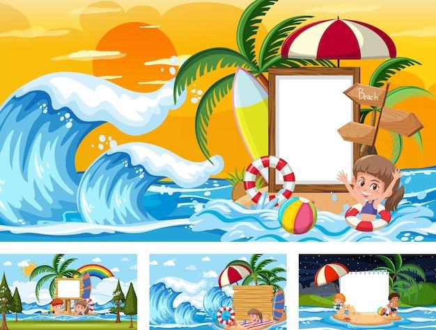 Conjunto de faixas em branco em diferentes cenas de praia tropical
