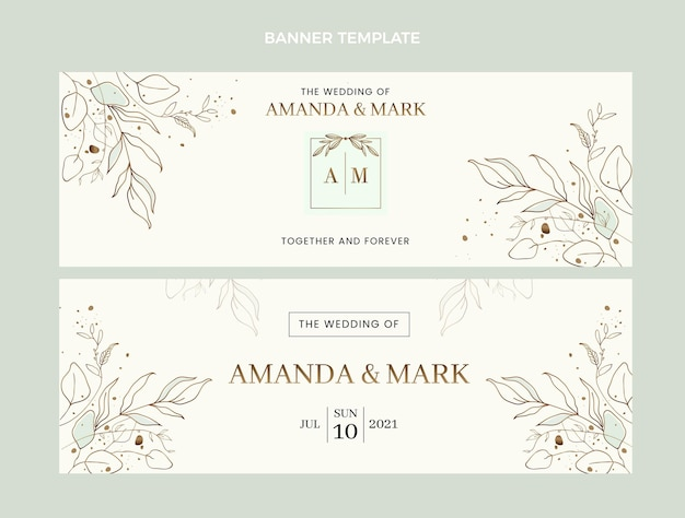 Conjunto de faixas horizontais de casamento desenhadas à mão