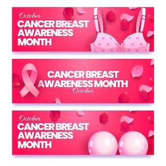 Conjunto de faixas horizontais de mês plano de conscientização do câncer de mama