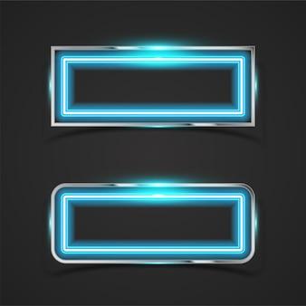 Conjunto de faixas horizontais de néon e néon metálico