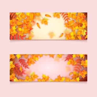 Conjunto de faixas horizontais de outono realistas