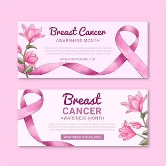 Conjunto de faixas horizontais do dia internacional contra o câncer de mama em aquarela