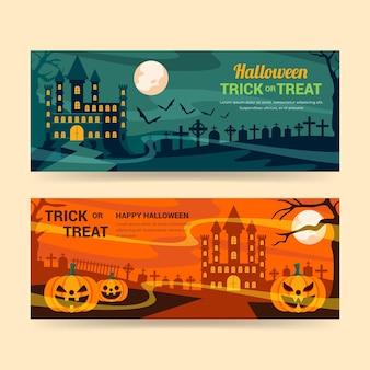 Conjunto de faixas horizontais planas de halloween