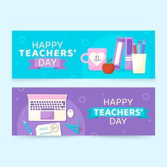Conjunto de faixas horizontais planas para o dia dos professores