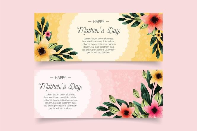 Conjunto de faixas pintadas à mão em aquarela do dia das mães