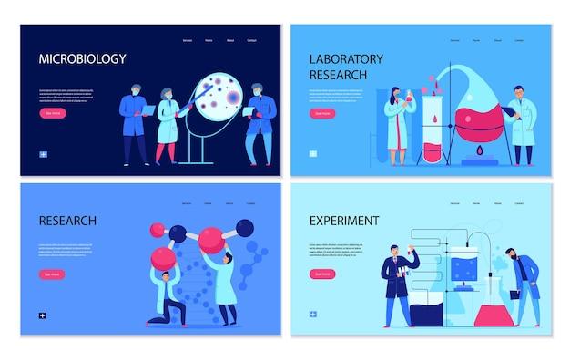 Conjunto de faixas planas com ilustração de cenas relacionadas ao laboratório de ciências