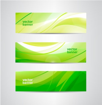 Conjunto de faixas verdes onduladas ecológicas