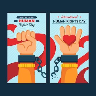 Conjunto de faixas verticais planas do dia internacional dos direitos humanos