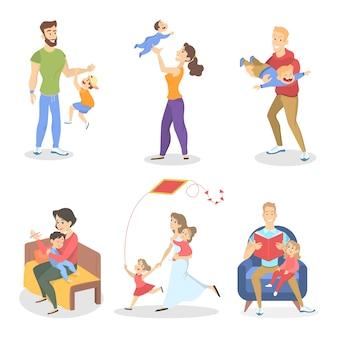 Conjunto de família com diversas situações. menina e menino se divertindo com a mãe e o pai. ilustração
