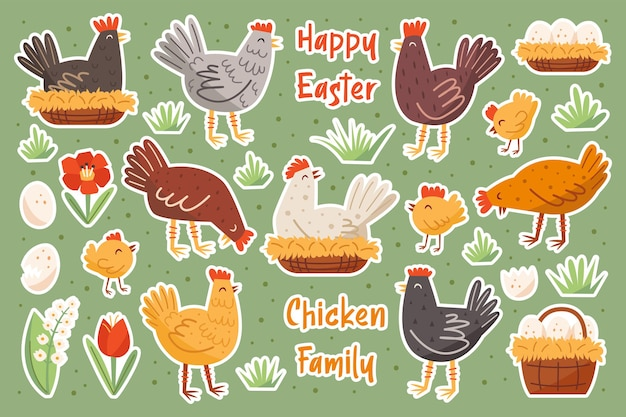 Conjunto de família de frango. animais domésticos de fazenda, elementos de feliz páscoa, conjunto de adesivos.