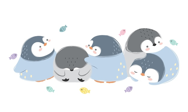 Conjunto de família de pinguins fofos