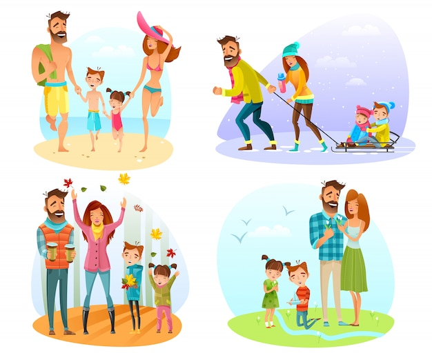 Conjunto de família de temporada