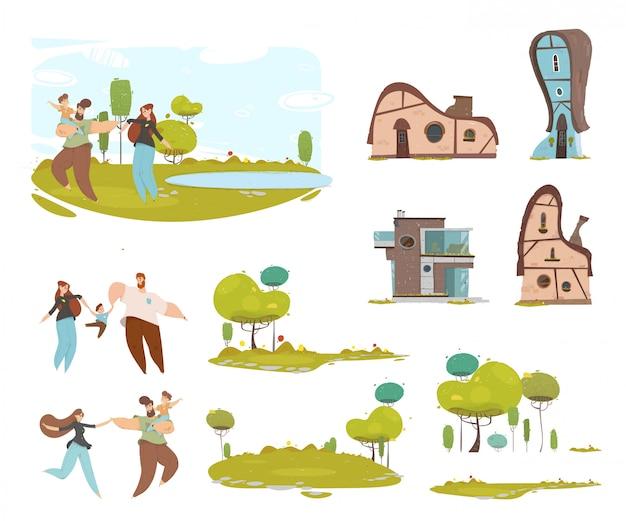 Conjunto de família e casa de campo artesanal