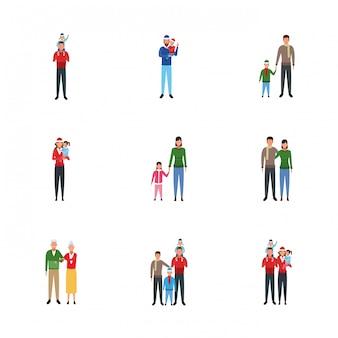 Conjunto de família e pessoas com crianças
