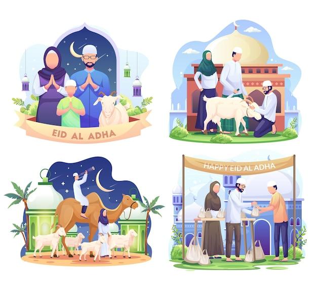 Conjunto de família muçulmana feliz comemora eid al adha mubarak com uma ilustração de cabra