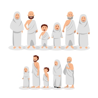 Conjunto de família muçulmana vestindo ihram