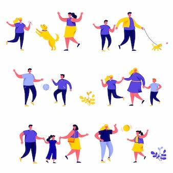 Conjunto de família plana pessoas caminha nos personagens do parque