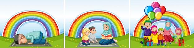Conjunto de famílias árabes em roupas tradicionais em fundo de arco-íris
