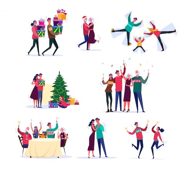 Conjunto de famílias comemorando o ano novo