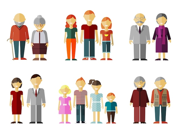 Conjunto de famílias em estilo simples.