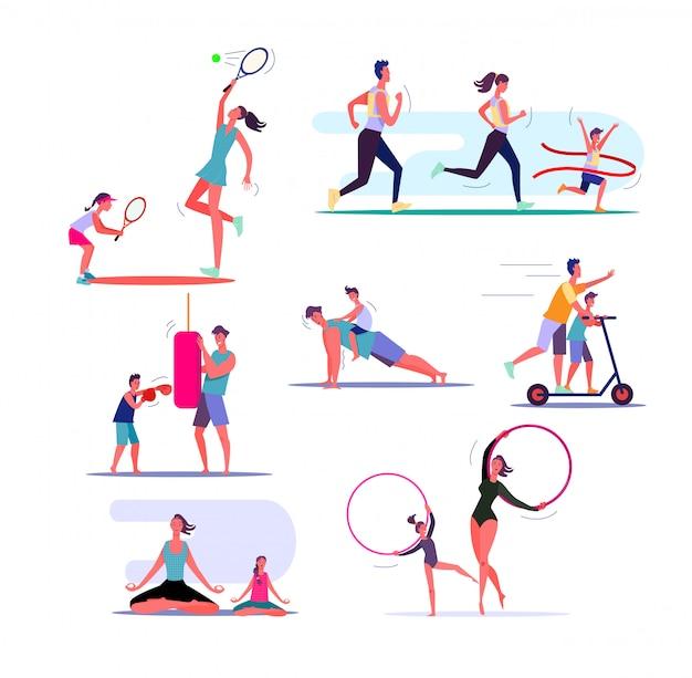 Conjunto de famílias exercitando