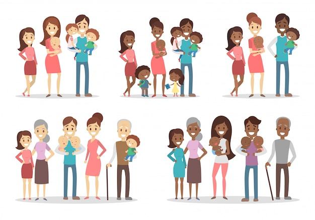 Conjunto de famílias felizes. pais com filhos e avós.