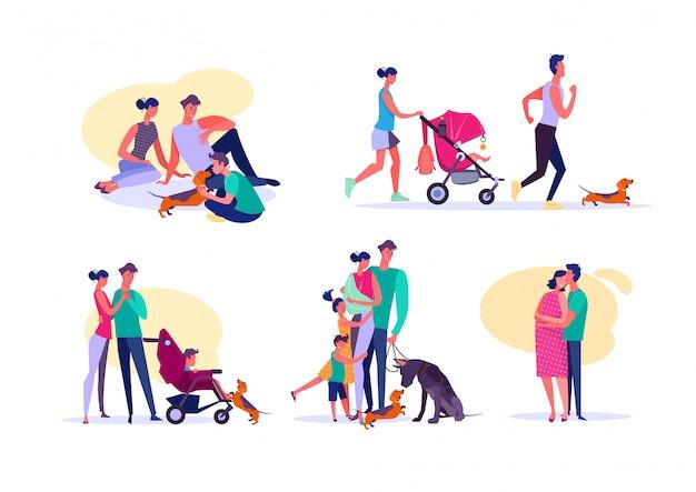 Conjunto de famílias felizes