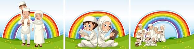 Conjunto de famílias muçulmanas árabes com roupas tradicionais e fundo arco-íris