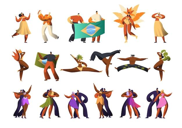 Conjunto de fantasias de dançarina de carnaval brasileiro.
