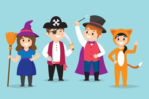 Conjunto de fantasias infantis de carnaval de desenhos animados