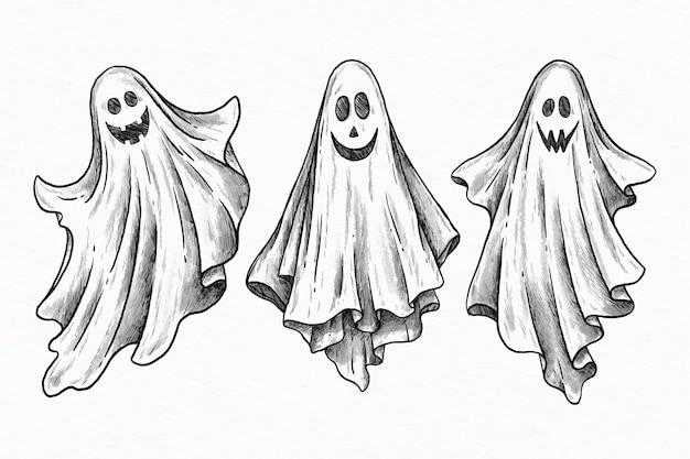 Conjunto de fantasma de halloween desenhado à mão