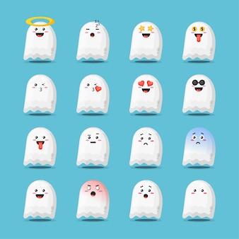Conjunto de fantasma de halloween fofo com emoticons