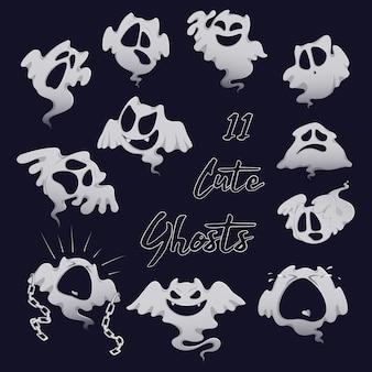 Conjunto de fantasmas assustadores de branco para o halloween.