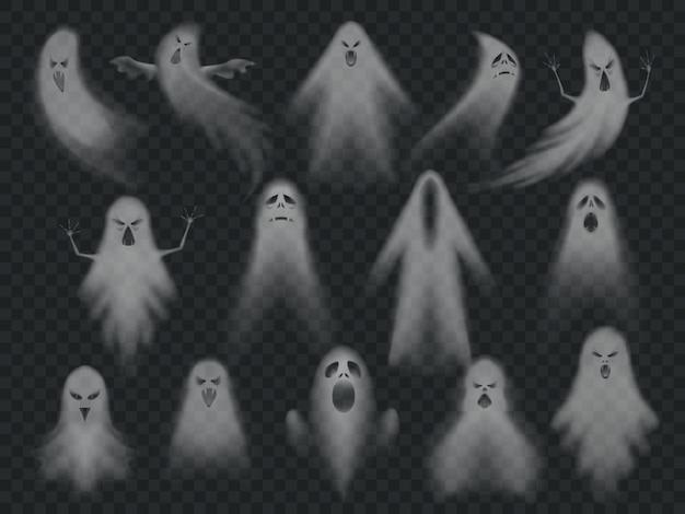 Conjunto de fantasmas assustadores de horror