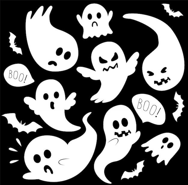 Conjunto de fantasmas brancos assustadores